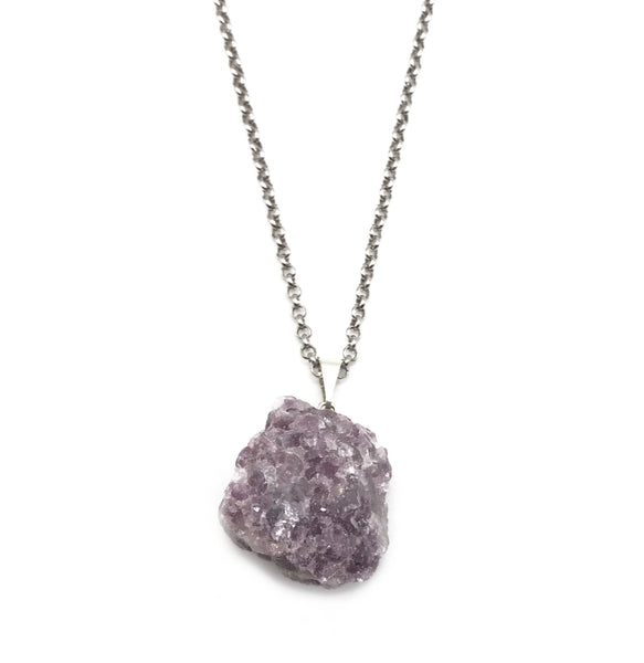 Natural Lepidolite Gemstone Crystal Pendant Necklace