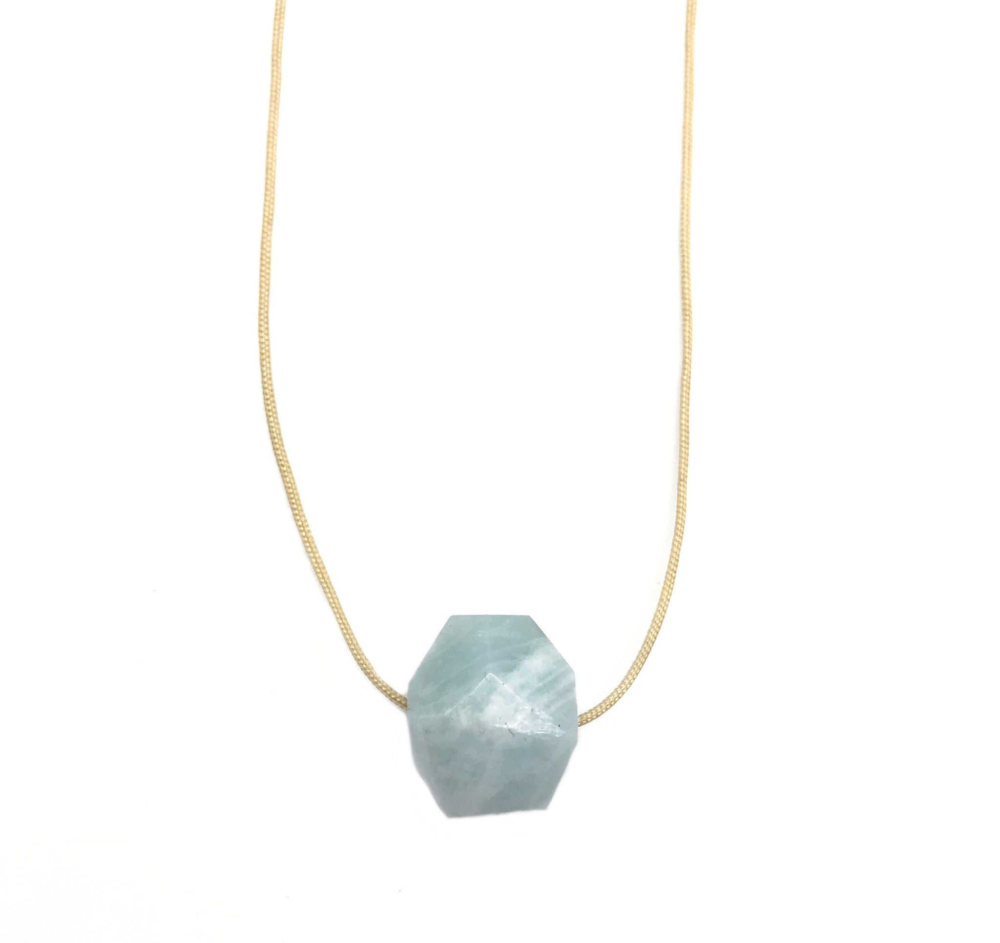 Natural Aquamarine Nude Hypoallergenic Cord Necklace 16 to 28 Inches Unisex