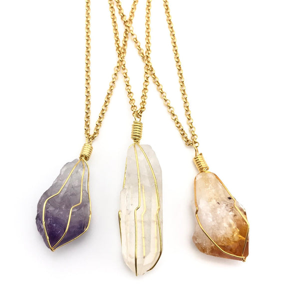 Natural Gold Amethyst Caged Gemstone Crystal Pendant Necklace