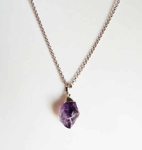 Natural Amethyst Gemstone Crystal Pendant Necklace