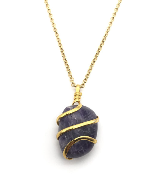 NATURAL AMETHYST GOLD SPIRAL NECKLACE