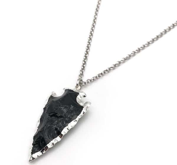 Natural Black Obsidian Arrowhead Crystal Pendant Necklace