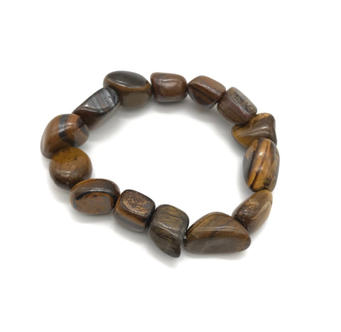 Tigers Eye Tumbled Gemstone Stretch Bracelet
