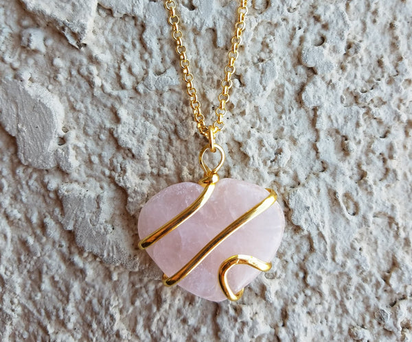 Natural Gold Rose Quartz Spiral Gemstone Crystal Pendant Necklace