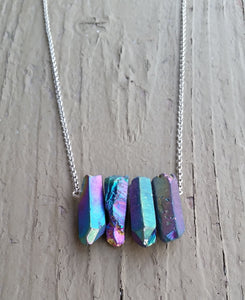 Natural Rainbow Quartz Aura Gemstone Crystal Pendant Necklace