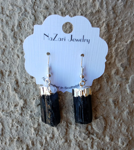 Natural Black Tourmaline Silver Drop Dangle Earrings