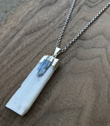 Natural Selenite And Kyanite Crystal Pendant Necklace