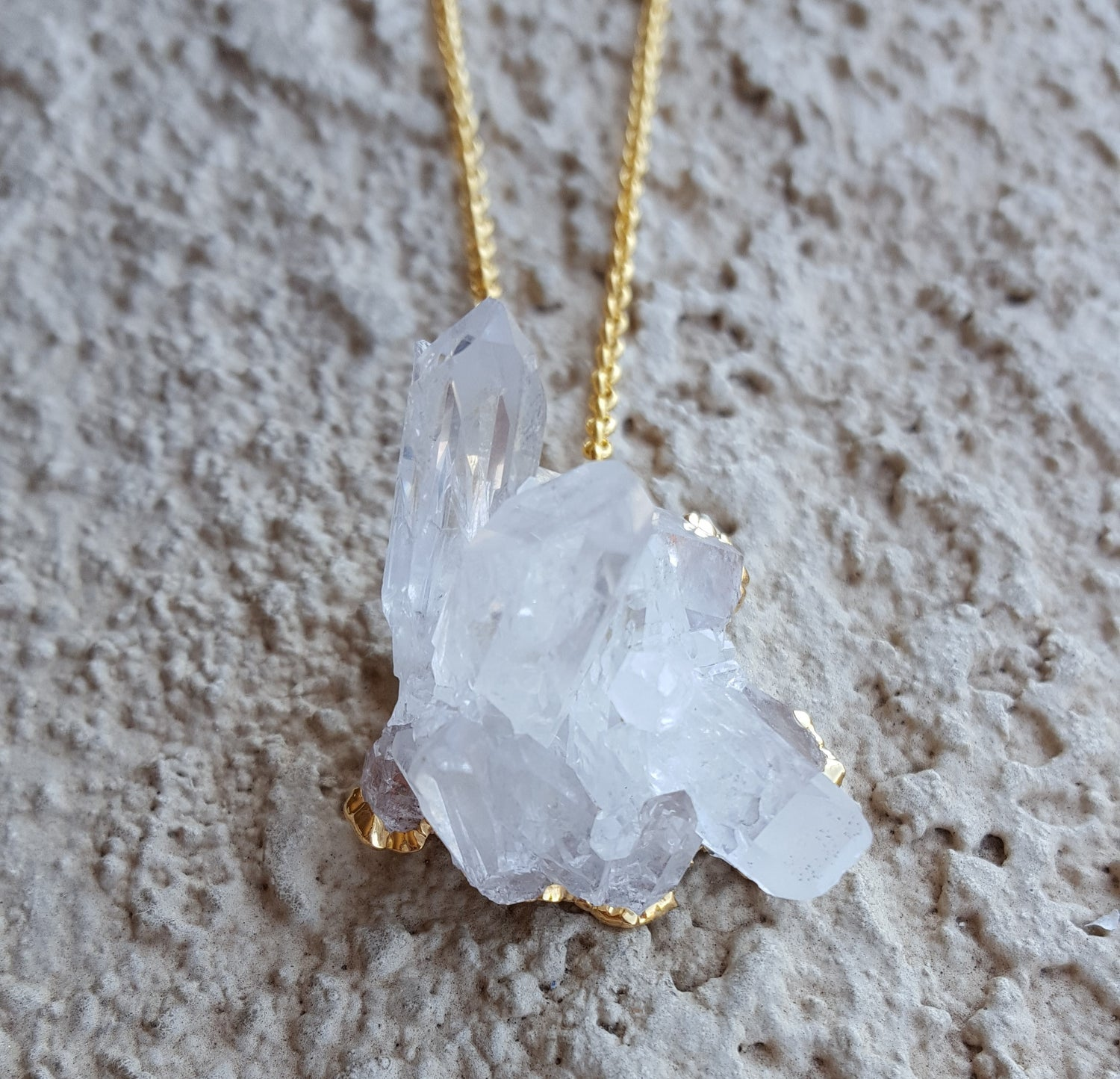 Natural Gold Quartz Cluster Gemstone Crystal Pendant Necklace