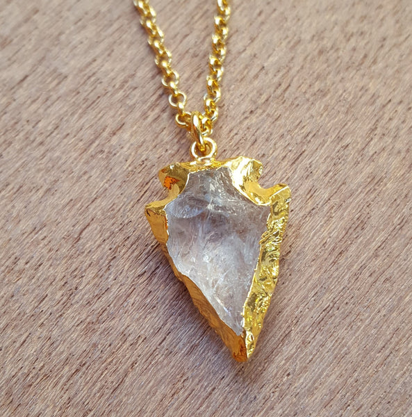 Natural Gold Rose Quartz Arrowhead Gemstone Crystal Pendant Necklace