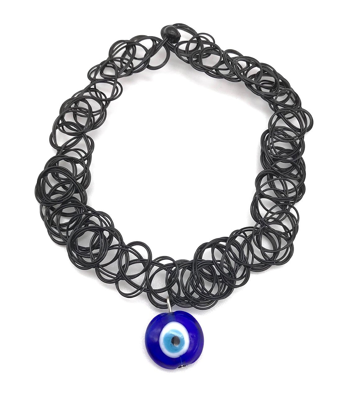 90s VINTAGE BLUE EVIL EYE STRETCH CHOKER