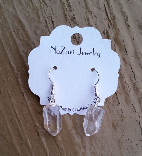Natural Quartz Drop Dangle Earrings