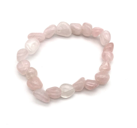 Rose Quartz Tumbled Gemstone Stretch Bracelet