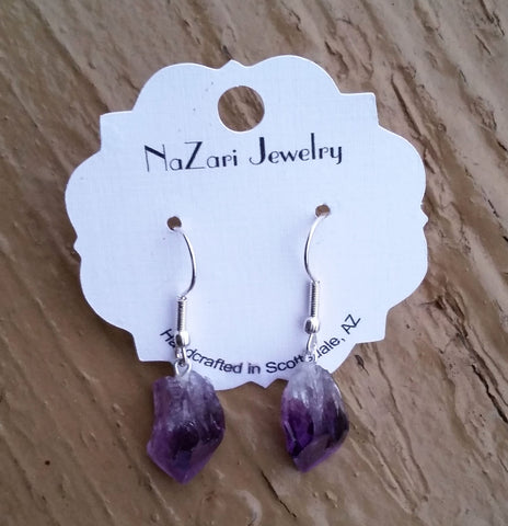 Natural Amethyst Drop Dangle Earrings