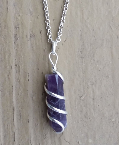 RAW AMETHYST ROUND POINT NECKLACE