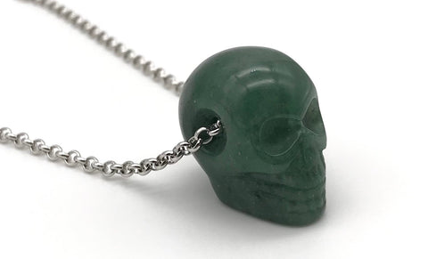 Natural Aventurine Skull Gemstone Crystal Pendant Necklace