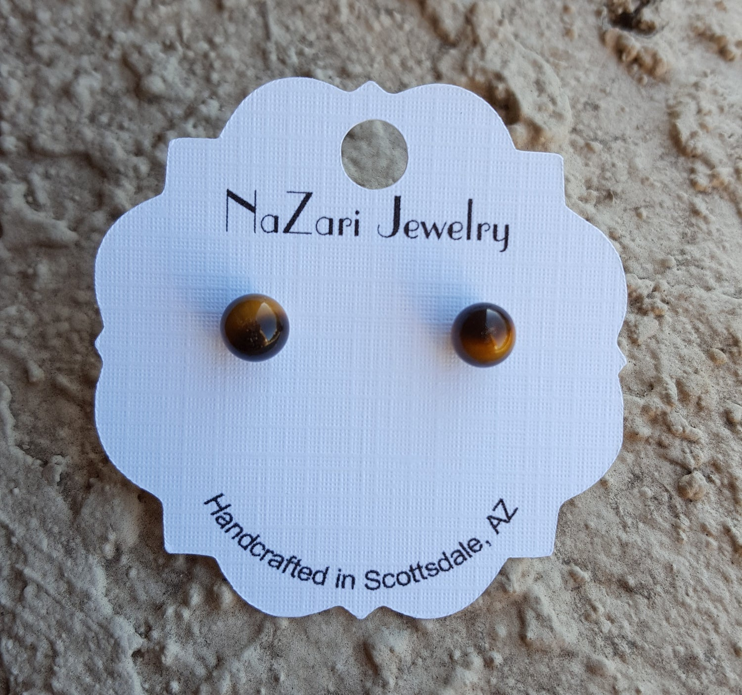 Natural Tigers Eye Round Stud Earrings