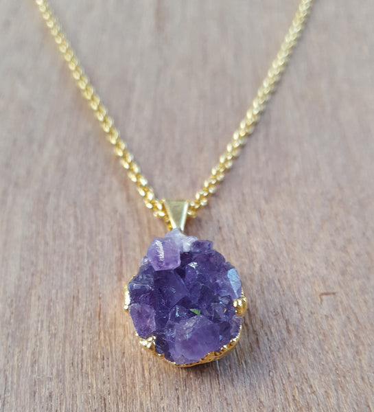 RAW GOLD AMETHYST DRUZY CRYSTAL NECKLACE