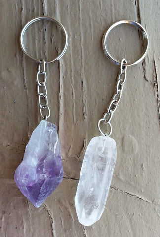 NATURAL CRYSTAL KEYCHAIN