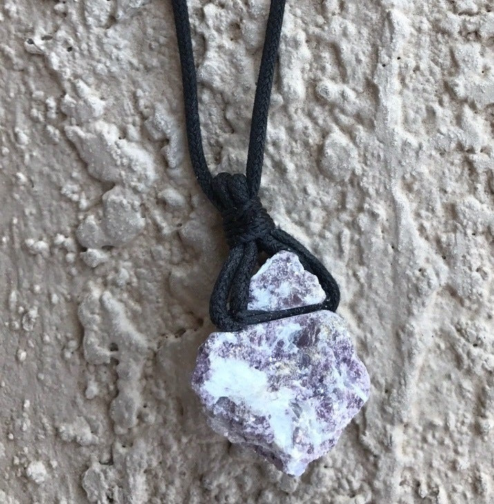 LEPIDOLITE CORD CRYSTAL NECKLACE