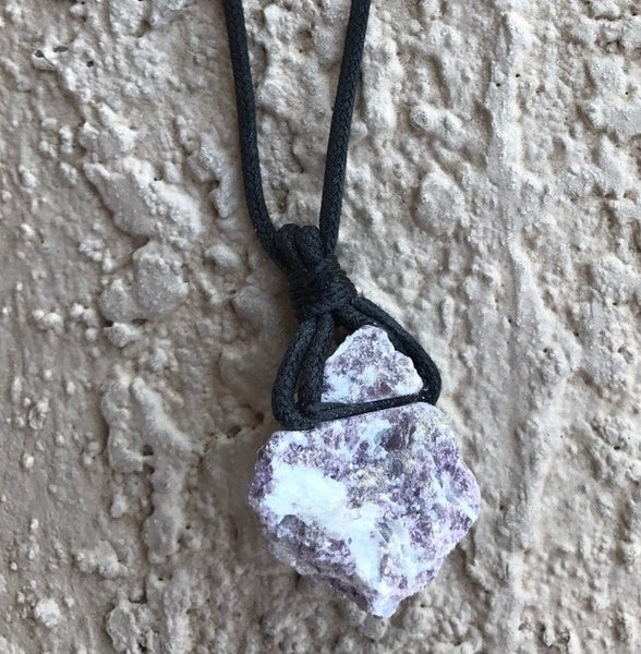 RAW LEPIDOLITE HYPOALLERGENIC CORD NECKLACE 16 to 28 INCHES UNISEX