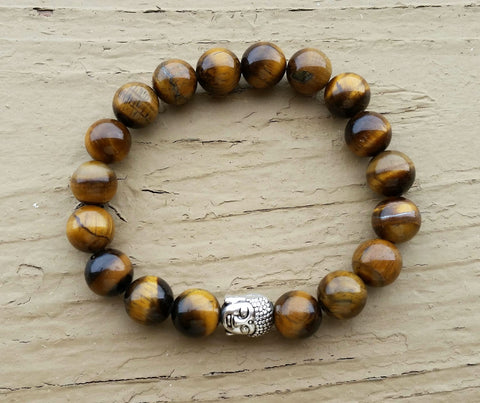 Natural Tigers Eye Buddha Bracelet