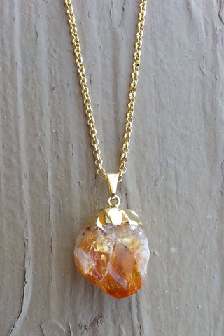 RAW GOLD CITRINE NECKLACE