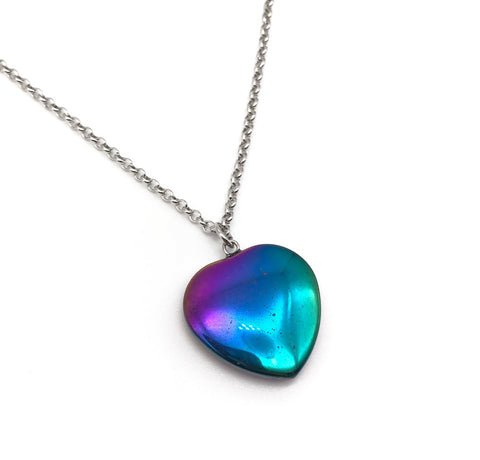 RAINBOW HEMATITE HEART NECKLACE