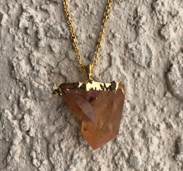TANGERINE QUARTZ CLUSTER CRYSTAL NECKLACE
