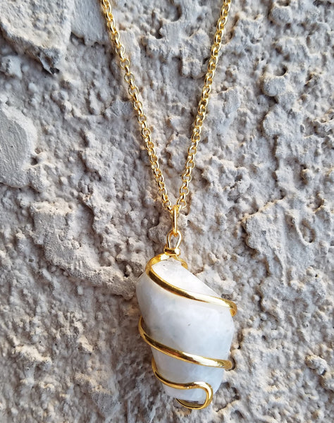 Natural Gold Moonstone Gemstone Crystal Pendant Necklace