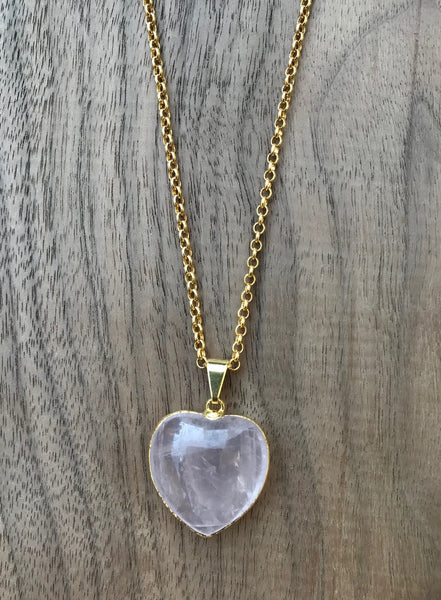 Natural Rose Quartz Puffy Heart Gemstone Crystal Pendant Necklace