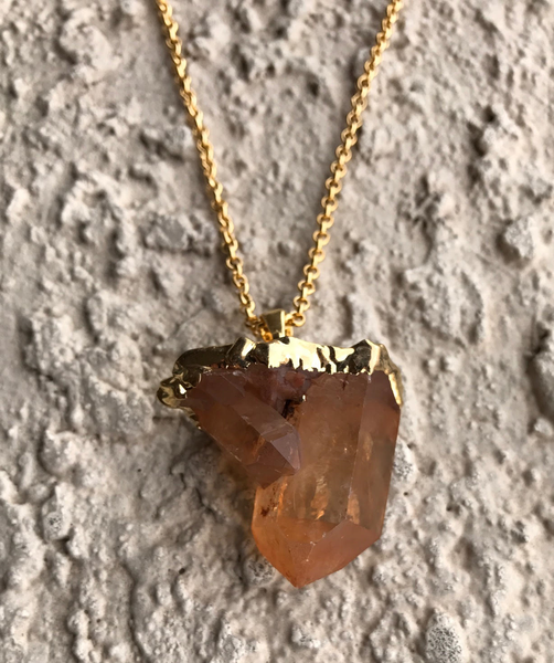 Natural Gold Tangerine Quartz Cluster Crystal Pendant Necklace