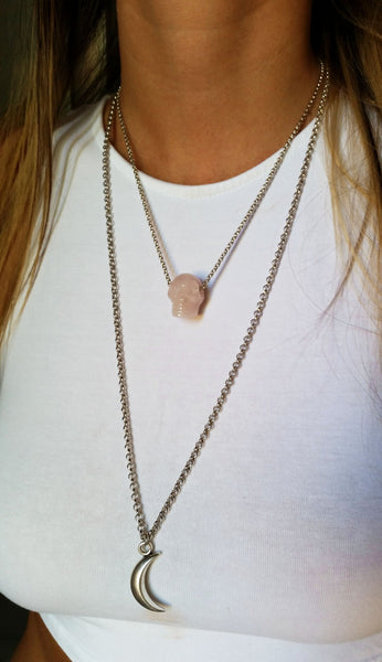 Natural Rose Quartz Skull Gemstone Crystal Pendant Necklace