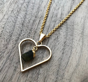 Natural Gold Black Tourmaline Heart Gemstone Pendant Necklace