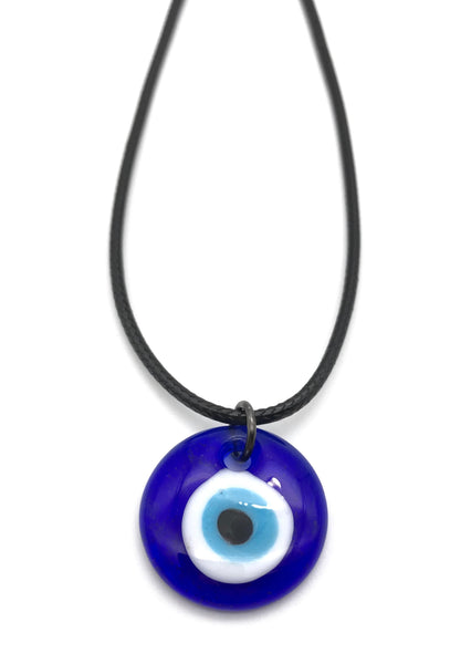 EVIL EYE MURANO GLASS HYPOALLERGENIC CORD NECKLACE 16 to 28 INCHES UNISEX