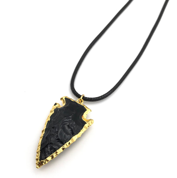 NATURAL BLACK OBSIDIAN GOLD ARROWHEAD HYPOALLERGENIC CORD NECKLACE 16 to 28 INCHES UNISEX