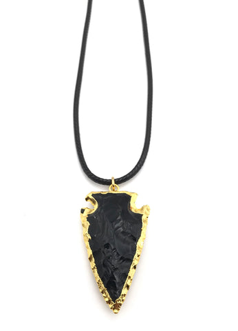 GOLD BLACK OBSIDIAN ARROWHEAD CORD NECKLACE