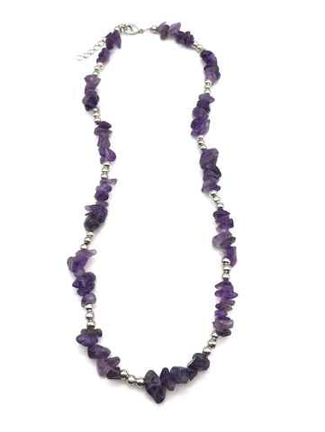 Natural Amethyst Chip Gemstone Crystal Necklace