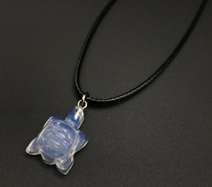 OPALITE TURTLE CARVED STONE CORD NECKLACE 16 to 28 INCHES UNISEX