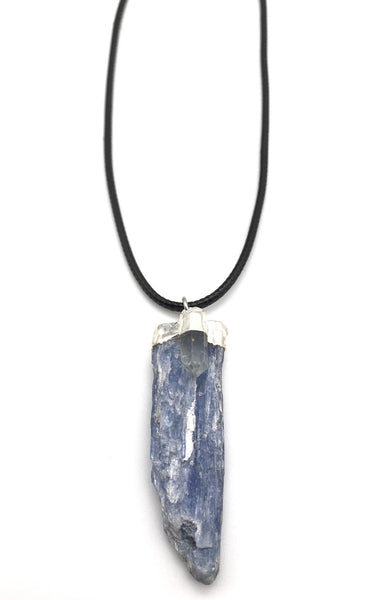 RAW KYANITE AND QUARTZ CRYSTAL CORD NECKLACE