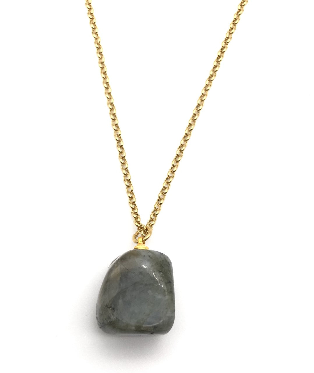 Natural Gold Labradorite Gemstone Crystal Pendant Necklace