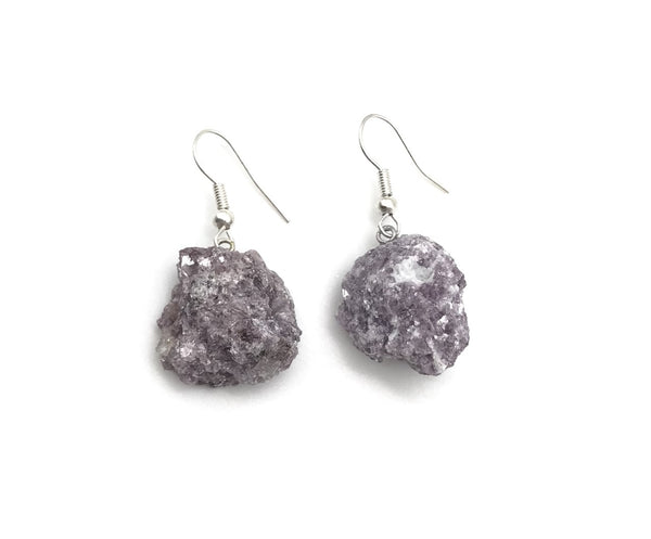 RAW LEPIDOLITE CRYSTAL DANGLE EARRINGS