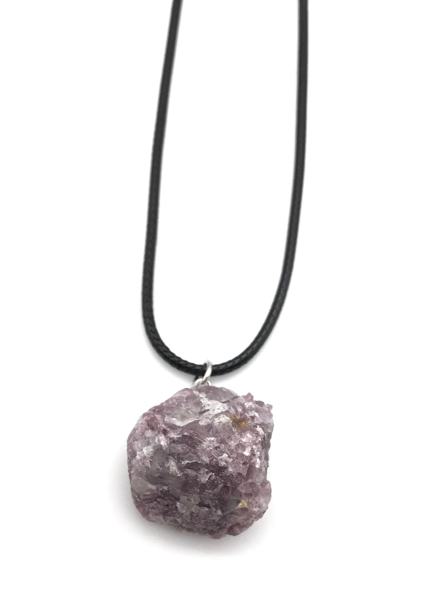 RAW LEPIDOLITE CORD CRYSTAL NECKLACE