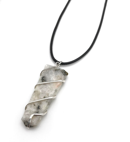 RAW MOONSTONE CRYSTAL CORD NECKLACE