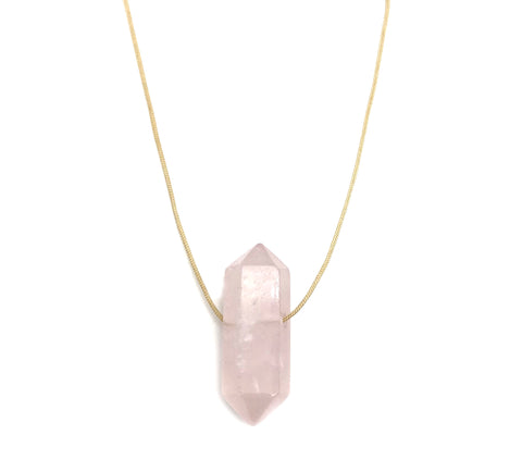 Natural Rose Quartz Nude Hypoallergenic Cord Necklace 16 to 28 Inches Unisex