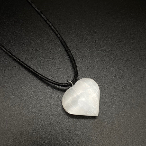 NATURAL SELENITE HEART CRYSTAL HYPOALLERGENIC CORD NECKLACE 16 to 28 INCHES UNISEX