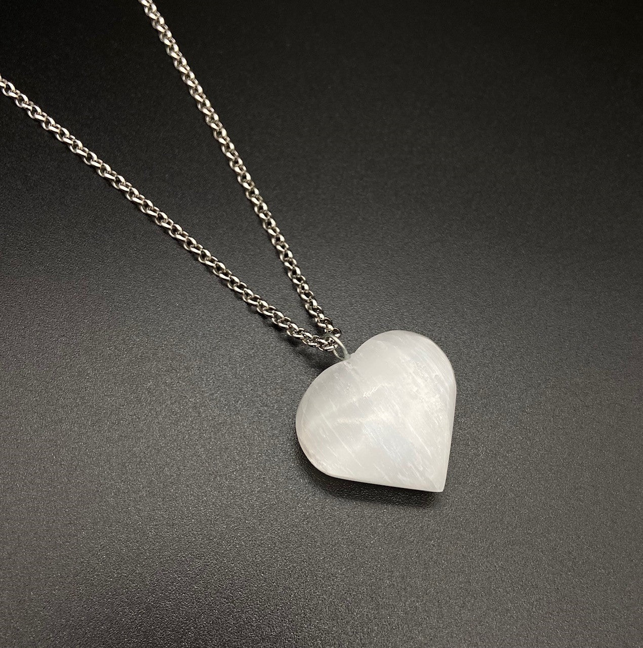 Natural Selenite Heart Gemstone Crystal Pendant Necklace