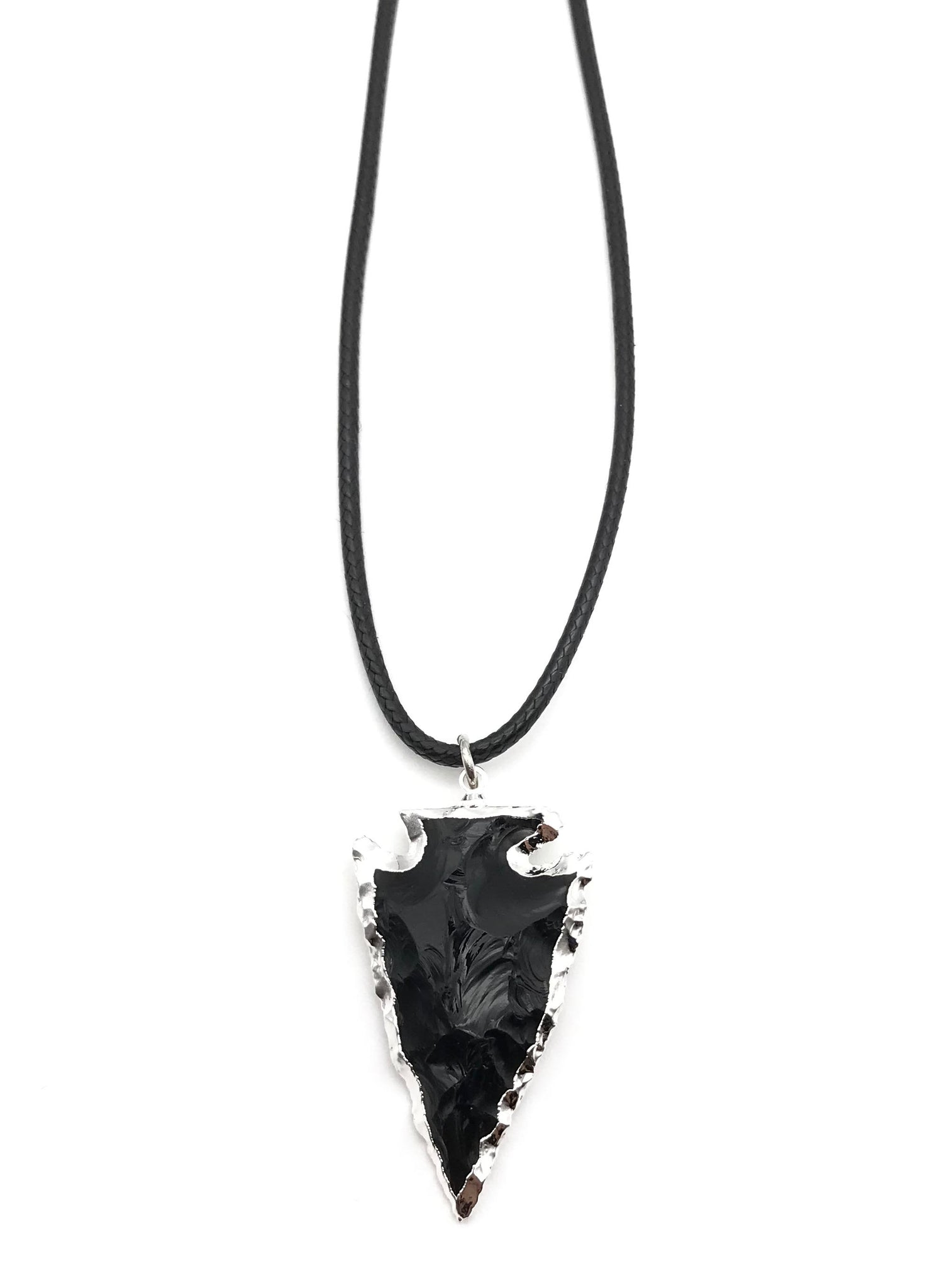 BLACK OBSIDIAN ARROWHEAD CORD NECKLACE