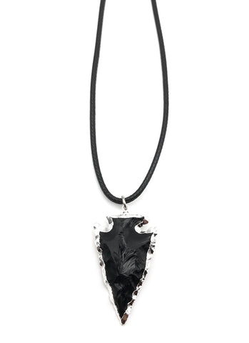 NATURAL GEMSTONE SILVER BLACK OBSIDIAN ARROWHEAD HYPOALLERGENIC CORD NECKLACE 16 to 28 INCHES UNISEX