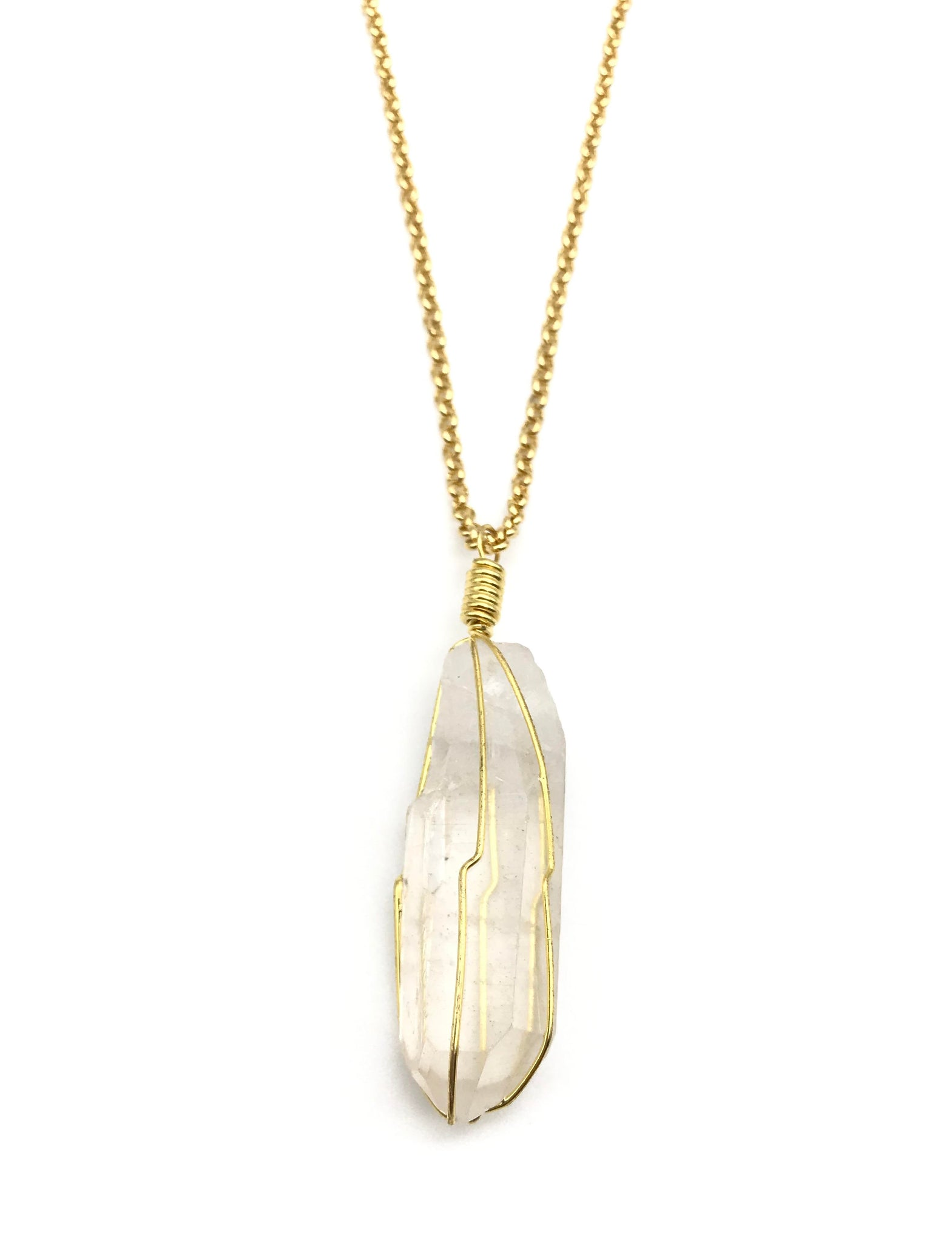Natural Gold Caged Quartz Crystal Pendant Necklace