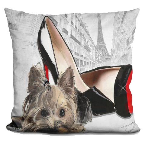 Jodi Pederi Yorkie In Paris Pillow